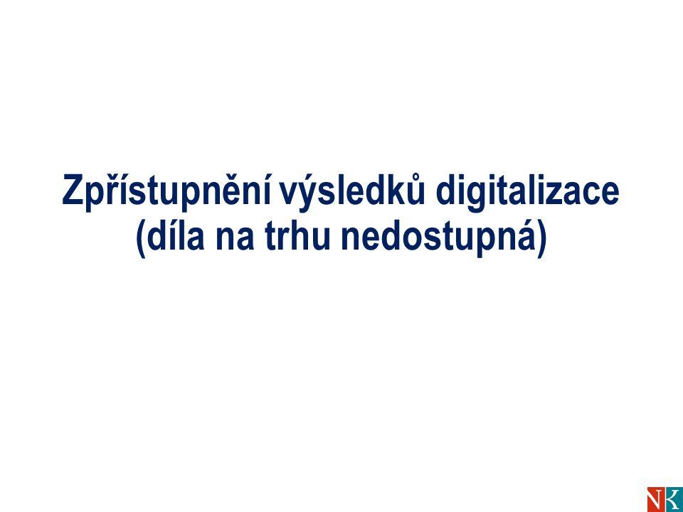 Zpřístupnění výsledků digitalizace (díla na trhu nedostupná)