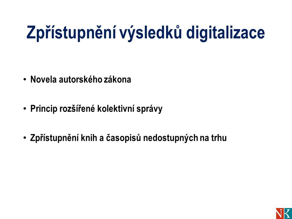 Zpřístupnění výsledků digitalizace Novela autorského zákona Princip rozšířené kolektivní správy Zpřístupnění knih a časopisů nedostupných na trhu