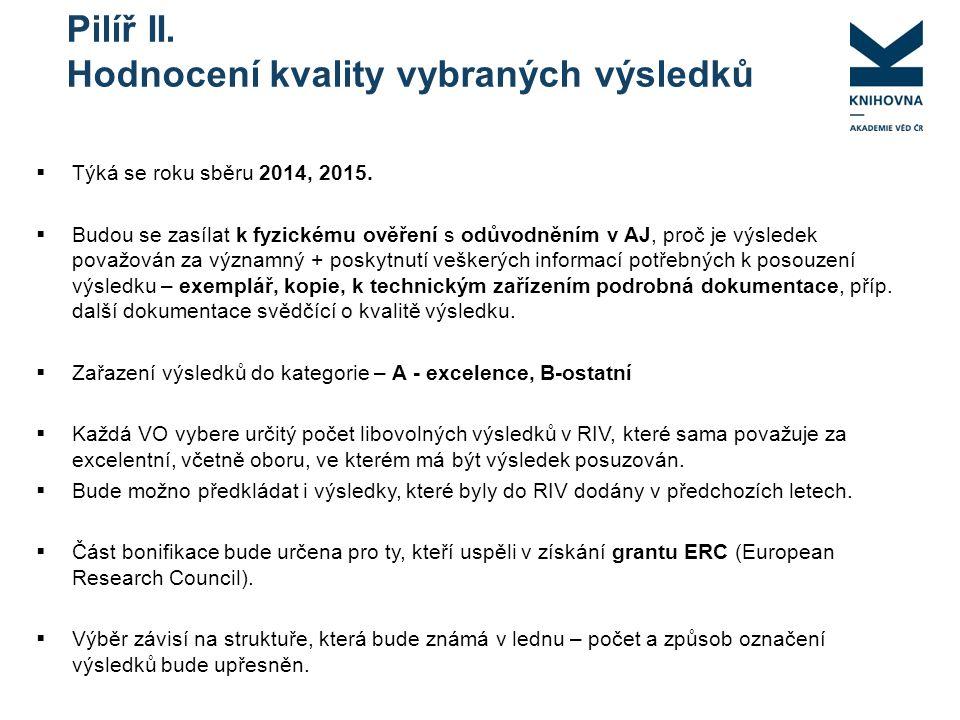 Pilíř II. Hodnocení kvality vybraných výsledků  Týká se roku sběru 2014, 2015.
