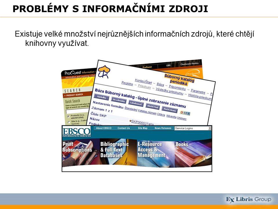 PROBLÉMY S INFORMAČNÍMI ZDROJI Existuje velké množství nejrůznějších informačních zdrojů, které chtějí knihovny využívat.