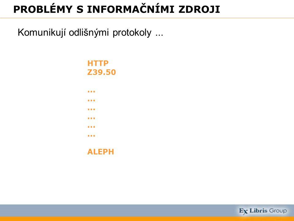 PROBLÉMY S INFORMAČNÍMI ZDROJI Komunikují odlišnými protokoly... HTTP Z39.50... ALEPH