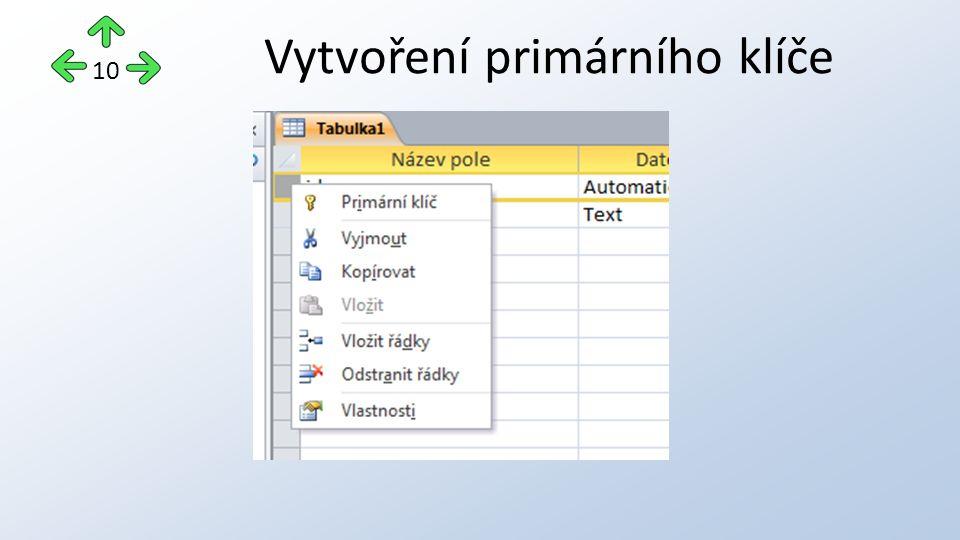 Vytvoření primárního klíče 10