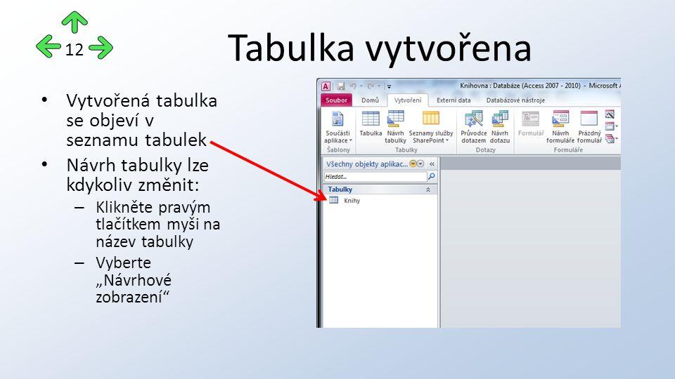 """Tabulka vytvořena Vytvořená tabulka se objeví v seznamu tabulek Návrh tabulky lze kdykoliv změnit: – Klikněte pravým tlačítkem myši na název tabulky – Vyberte """"Návrhové zobrazení 12"""