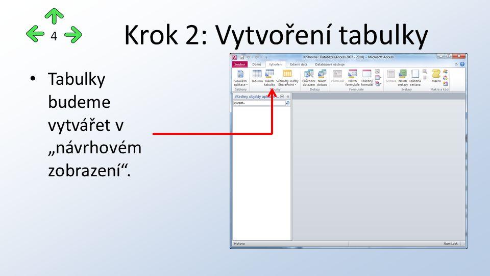 """Krok 2: Vytvoření tabulky Tabulky budeme vytvářet v """"návrhovém zobrazení . 4"""