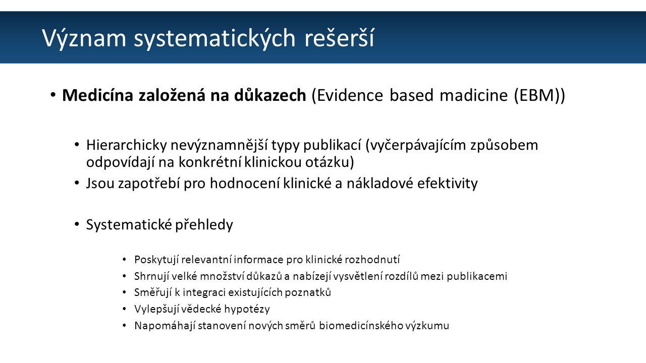 Význam systematických rešerší Medicína založená na důkazech (Evidence based madicine (EBM)) Hierarchicky nevýznamnější typy publikací (vyčerpávajícím způsobem odpovídají na konkrétní klinickou otázku) Jsou zapotřebí pro hodnocení klinické a nákladové efektivity Systematické přehledy Poskytují relevantní informace pro klinické rozhodnutí Shrnují velké množství důkazů a nabízejí vysvětlení rozdílů mezi publikacemi Směřují k integraci existujících poznatků Vylepšují vědecké hypotézy Napomáhají stanovení nových směrů biomedicínského výzkumu