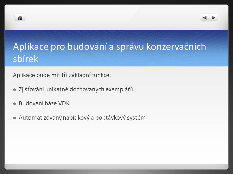 Aplikace pro budování a správu konzervačních sbírek Aplikace bude mít tři základní funkce: Zjišťování unikátně dochovaných exemplářů Budování báze VDK Automatizovaný nabídkový a poptávkový systém