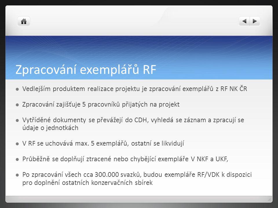 Zpracování exemplářů RF Vedlejším produktem realizace projektu je zpracování exemplářů z RF NK ČR Zpracování zajišťuje 5 pracovníků přijatých na projekt Vytříděné dokumenty se převážejí do CDH, vyhledá se záznam a zpracují se údaje o jednotkách V RF se uchovává max.