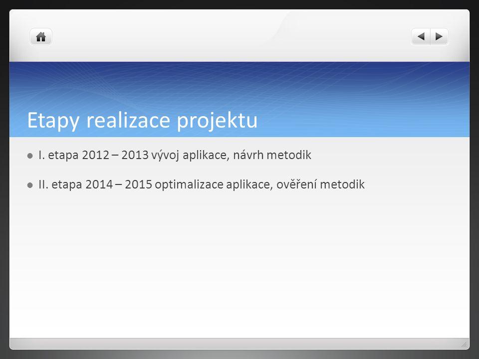 Etapy realizace projektu I. etapa 2012 – 2013 vývoj aplikace, návrh metodik II.