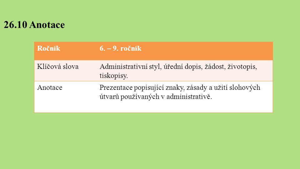 26.10 Anotace Ročník6. – 9.