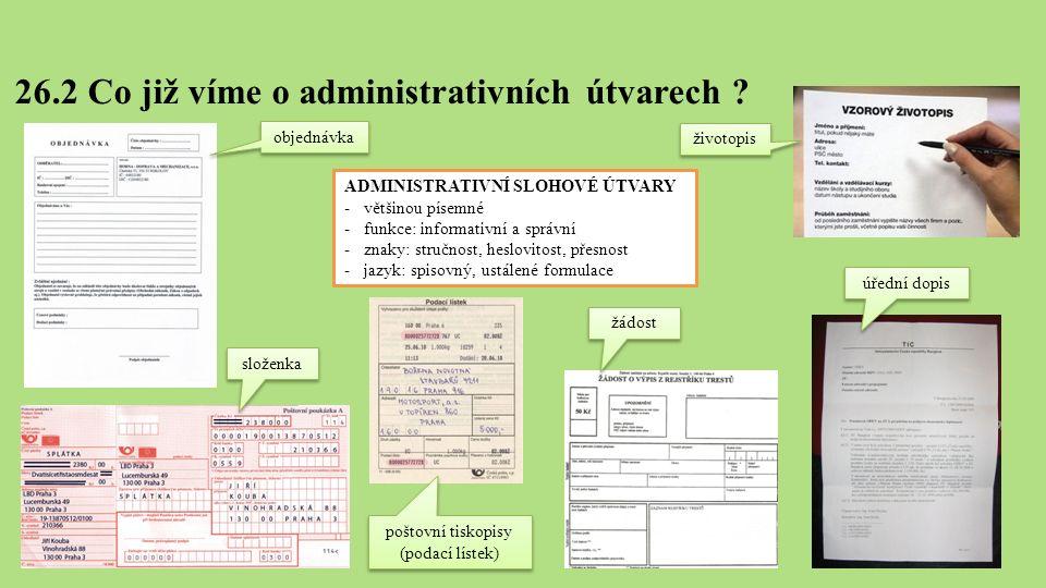 26.2 Co již víme o administrativních útvarech .