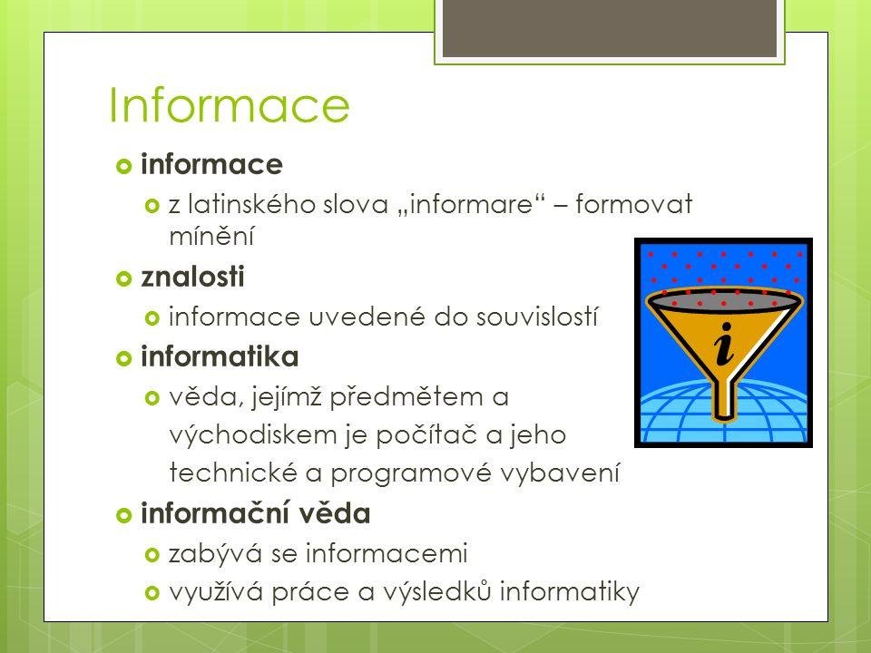 """Informace  informace  z latinského slova """"informare – formovat mínění  znalosti  informace uvedené do souvislostí  informatika  věda, jejímž předmětem a východiskem je počítač a jeho technické a programové vybavení  informační věda  zabývá se informacemi  využívá práce a výsledků informatiky"""