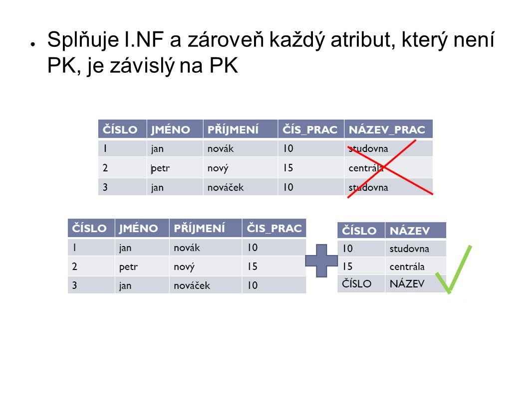 ● Splňuje I.NF a zároveň každý atribut, který není PK, je závislý na PK