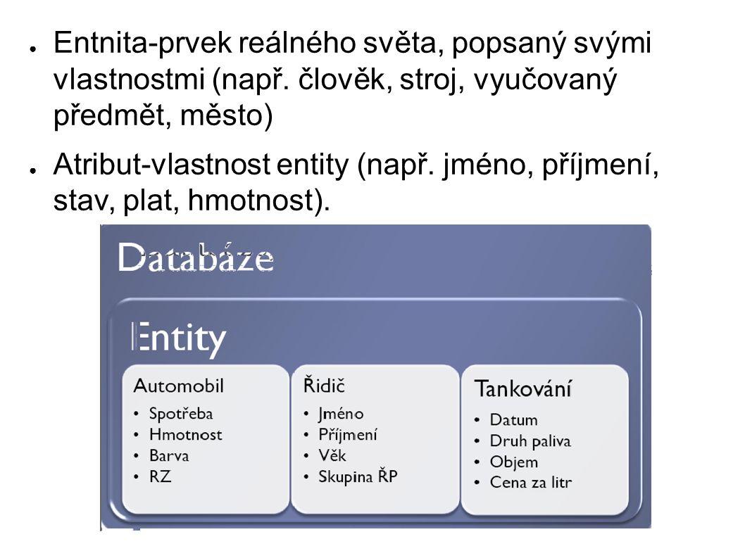 ● Entnita-prvek reálného světa, popsaný svými vlastnostmi (např.