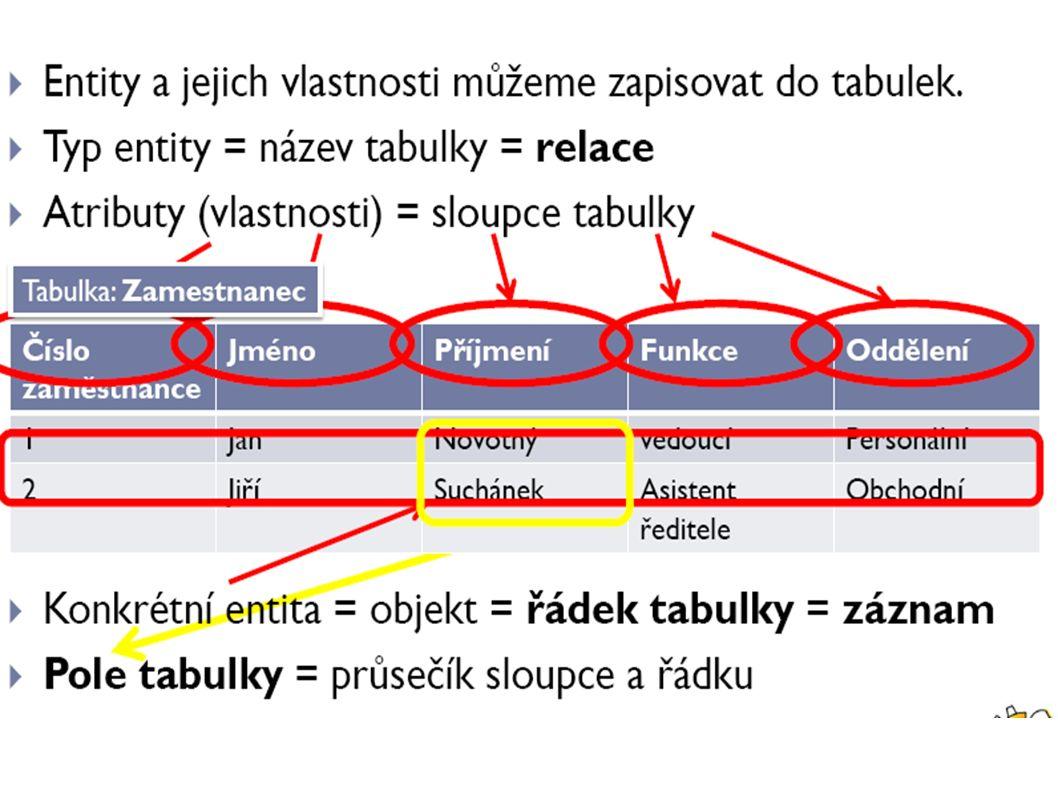Řádky ● Řádky nebo také záznamy.