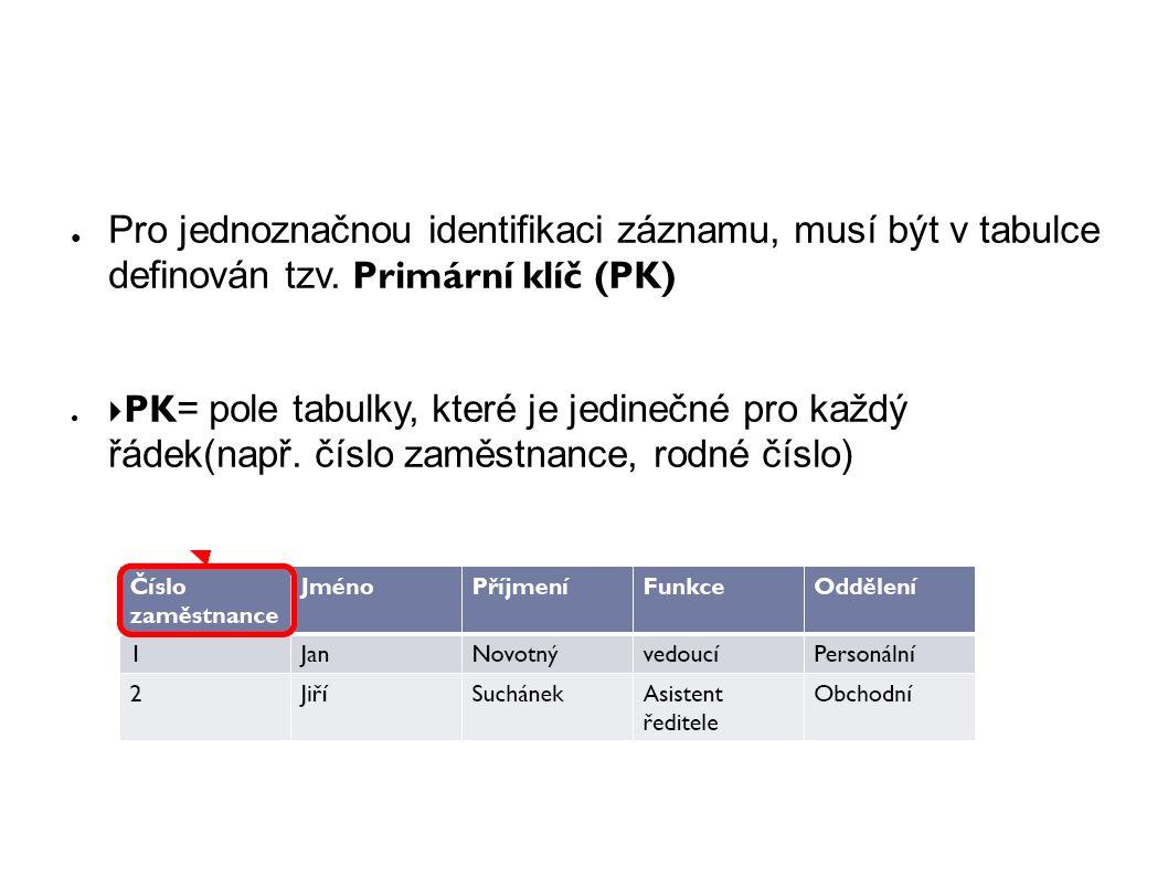 ● Pro jednoznačnou identifikaci záznamu, musí být v tabulce definován tzv.