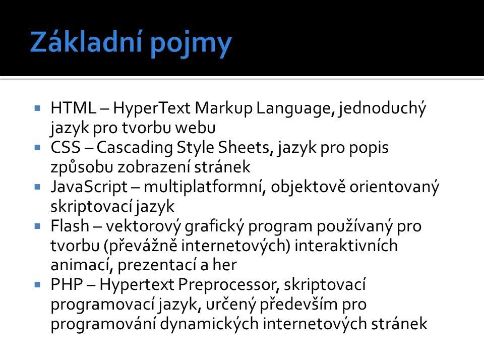  HTML – HyperText Markup Language, jednoduchý jazyk pro tvorbu webu  CSS – Cascading Style Sheets, jazyk pro popis způsobu zobrazení stránek  JavaScript – multiplatformní, objektově orientovaný skriptovací jazyk  Flash – vektorový grafický program používaný pro tvorbu (převážně internetových) interaktivních animací, prezentací a her  PHP – Hypertext Preprocessor, skriptovací programovací jazyk, určený především pro programování dynamických internetových stránek