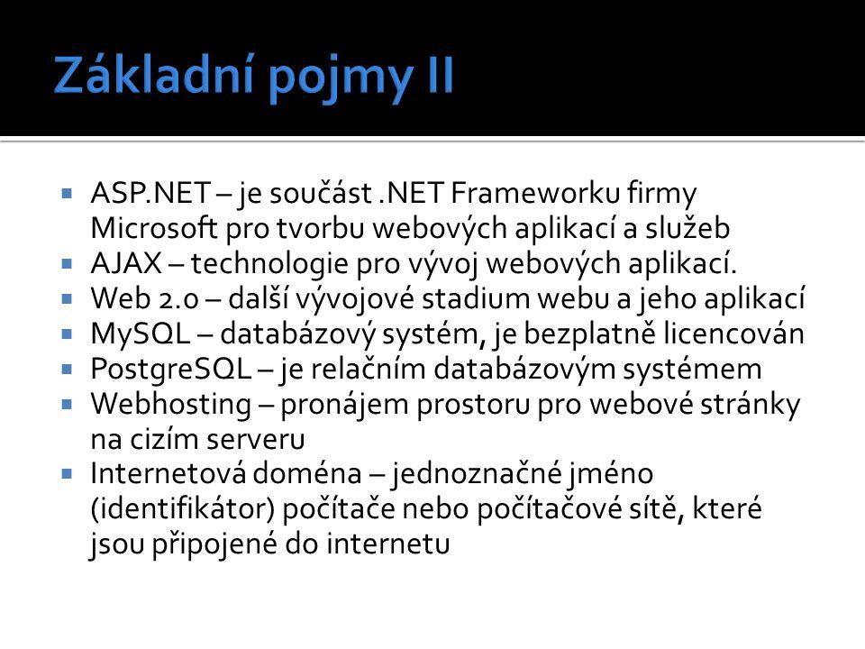  ASP.NET – je součást.NET Frameworku firmy Microsoft pro tvorbu webových aplikací a služeb  AJAX – technologie pro vývoj webových aplikací.