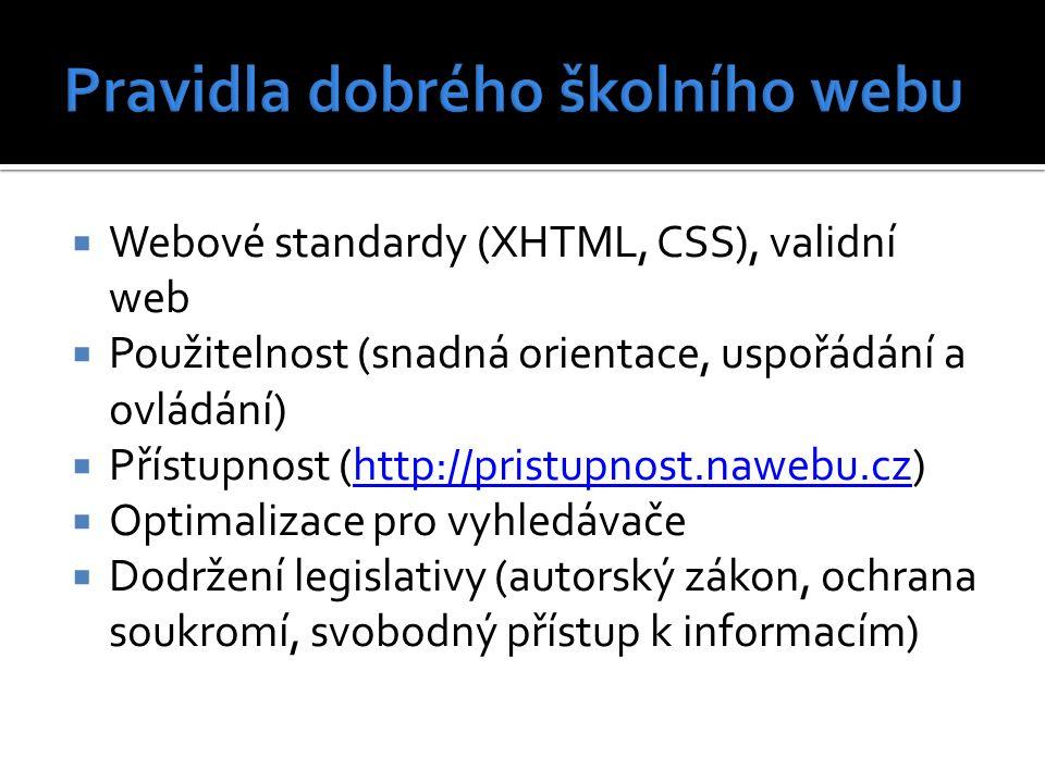  Webové standardy (XHTML, CSS), validní web  Použitelnost (snadná orientace, uspořádání a ovládání)  Přístupnost (http://pristupnost.nawebu.cz)http://pristupnost.nawebu.cz  Optimalizace pro vyhledávače  Dodržení legislativy (autorský zákon, ochrana soukromí, svobodný přístup k informacím)