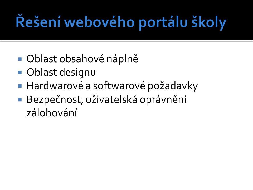  Oblast obsahové náplně  Oblast designu  Hardwarové a softwarové požadavky  Bezpečnost, uživatelská oprávnění zálohování