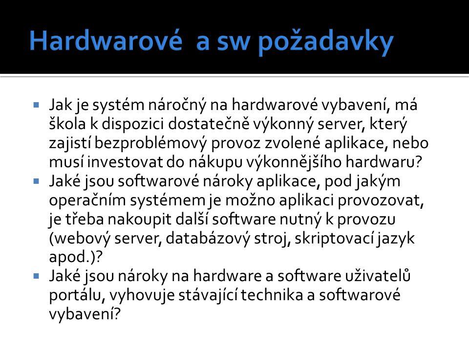  Jak je systém náročný na hardwarové vybavení, má škola k dispozici dostatečně výkonný server, který zajistí bezproblémový provoz zvolené aplikace, nebo musí investovat do nákupu výkonnějšího hardwaru.