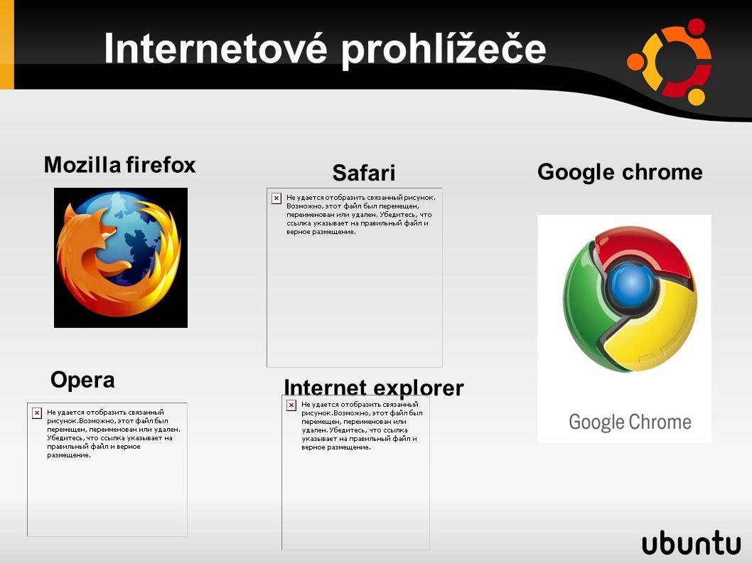 Internetové prohlížeče Safari Mozilla firefox Internet explorer Opera Google chrome