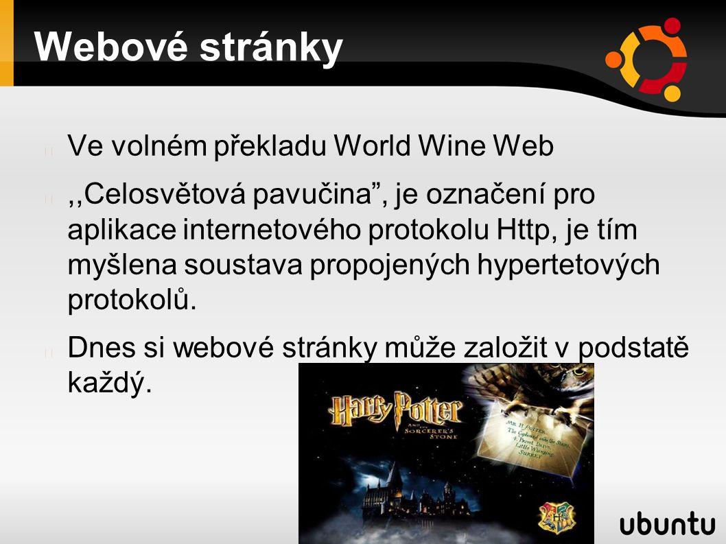 Webové stránky Ve volném překladu World Wine Web,,Celosvětová pavučina , je označení pro aplikace internetového protokolu Http, je tím myšlena soustava propojených hypertetových protokolů.