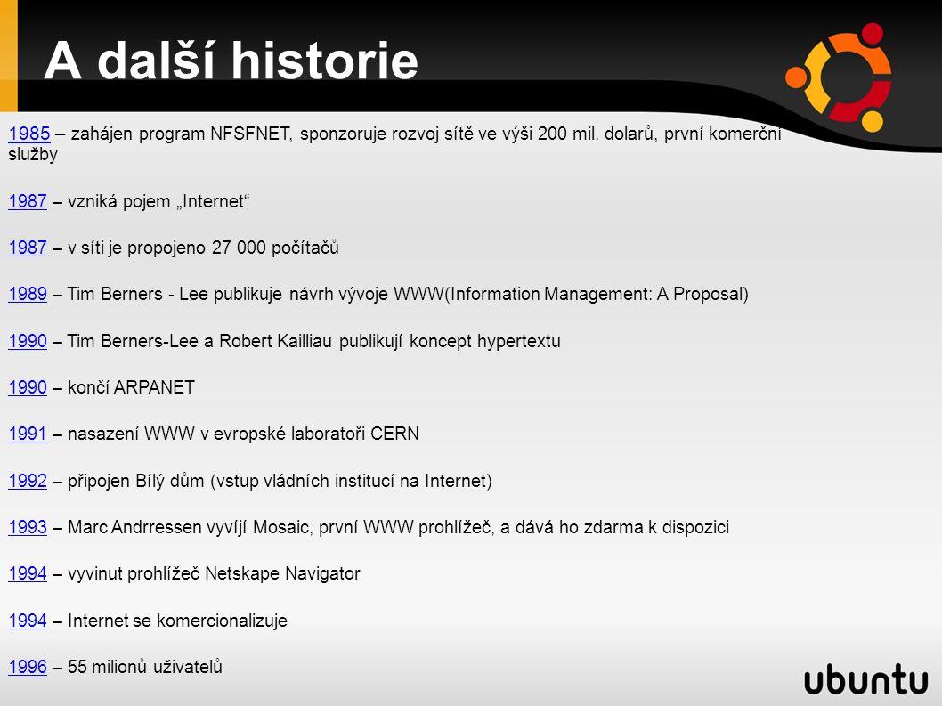 A další historie 19851985 – zahájen program NFSFNET, sponzoruje rozvoj sítě ve výši 200 mil.
