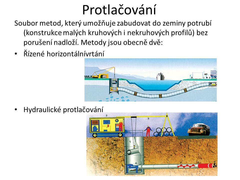 Protlačování Soubor metod, který umožňuje zabudovat do zeminy potrubí (konstrukce malých kruhových i nekruhových profilů) bez porušení nadloží. Metody
