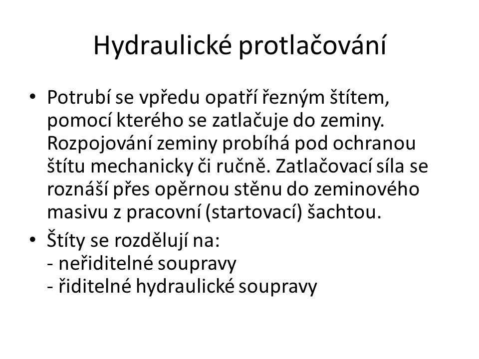 Hydraulické protlačování Potrubí se vpředu opatří řezným štítem, pomocí kterého se zatlačuje do zeminy.