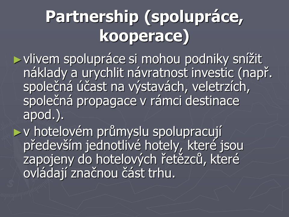 Partnership (spolupráce, kooperace) ► vlivem spolupráce si mohou podniky snížit náklady a urychlit návratnost investic (např. společná účast na výstav