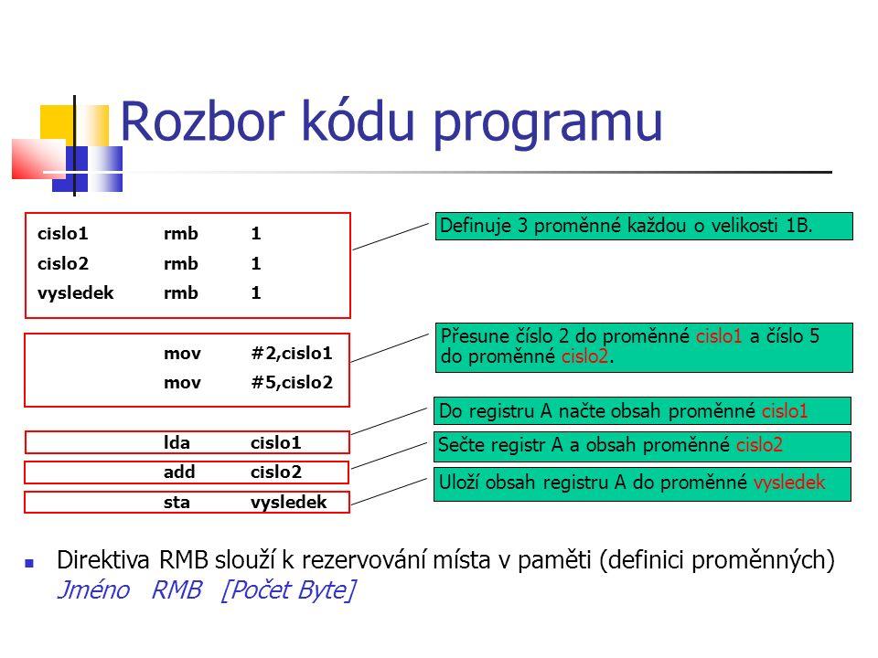 Rozbor kódu programu Direktiva RMB slouží k rezervování místa v paměti (definici proměnných) Jméno RMB [Počet Byte] cislo1rmb1 cislo2rmb1 vysledekrmb1 mov#2,cislo1 mov#5,cislo2 ldacislo1 addcislo2 stavysledek Definuje 3 proměnné každou o velikosti 1B.Přesune číslo 2 do proměnné cislo1 a číslo 5 do proměnné cislo2.