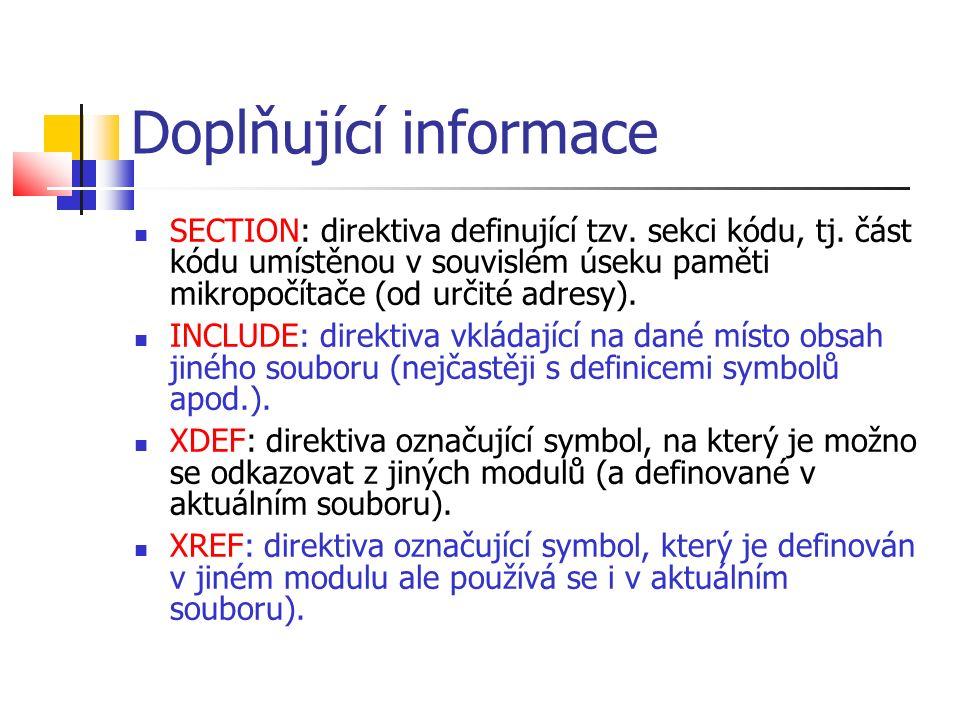 Doplňující informace SECTION: direktiva definující tzv.