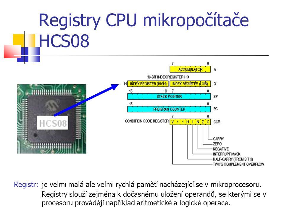 Registry CPU mikropočítače HCS08 Registr:je velmi malá ale velmi rychlá paměť nacházející se v mikroprocesoru.