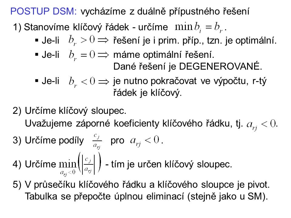 POSTUP DSM:vycházíme z duálně přípustného řešení 1) Stanovíme klíčový řádek - určíme.