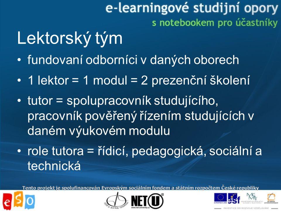 Lektorský tým fundovaní odborníci v daných oborech 1 lektor = 1 modul = 2 prezenční školení tutor = spolupracovník studujícího, pracovník pověřený řízením studujících v daném výukovém modulu role tutora = řídicí, pedagogická, sociální a technická