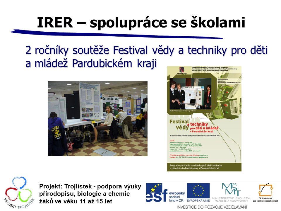 IRER – spolupráce se školami Projekt: Trojlístek - podpora výuky přírodopisu, biologie a chemie žáků ve věku 11 až 15 let 2 ročníky soutěže Festival v