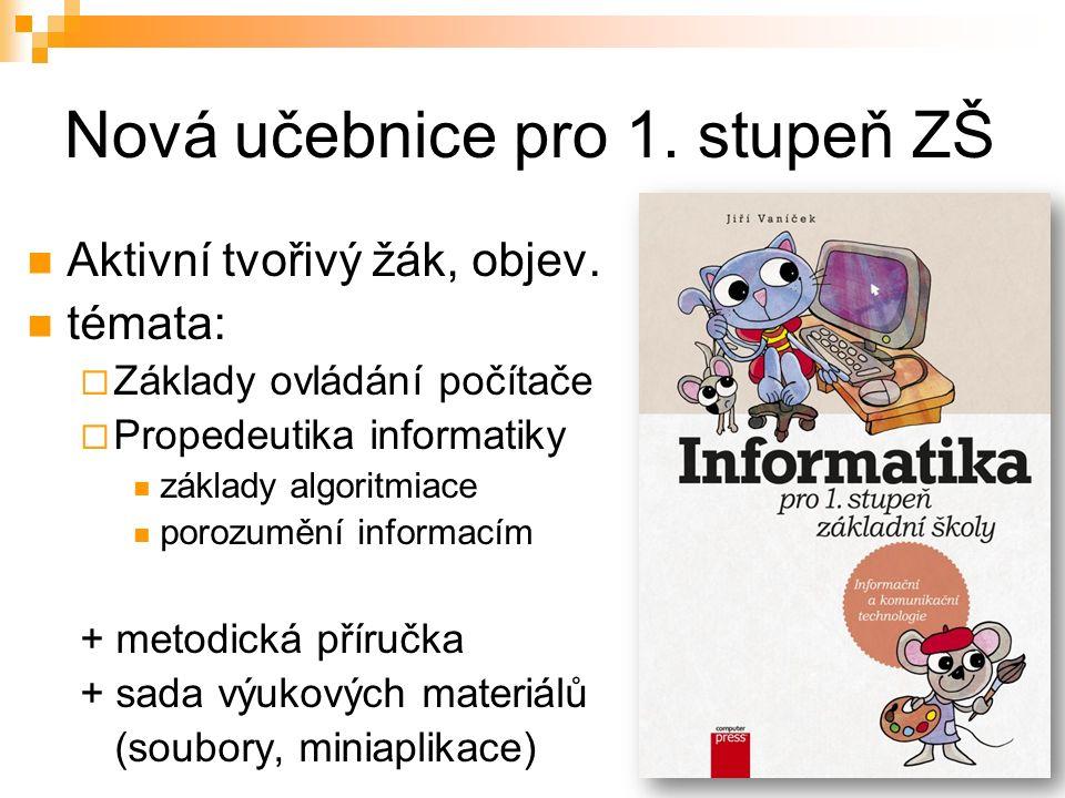 Obsah učebnice 4 kapitoly z oblasti ICT  spouštíme aplikací, kreslíme, píšeme, Internet 2 kapitoly základů informatiky  programujeme, informace Úvodní kapitola – co už umíme  základní dovednosti, ovládání myši, klávesnice Závěrečná kapitola  učíme se s počítačem, náměty na projekty