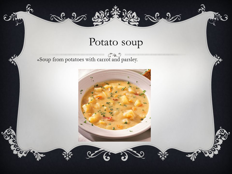 Potato soup  Soup from potatoes with carrot and parsley.