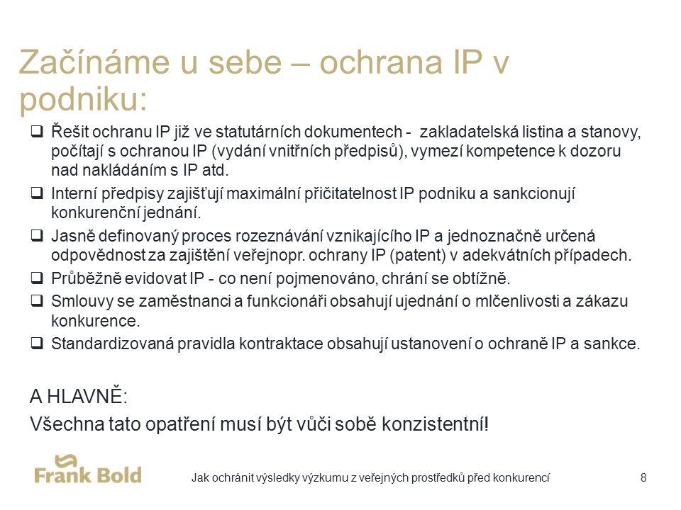 Začínáme u sebe – ochrana IP v podniku:  Řešit ochranu IP již ve statutárních dokumentech - zakladatelská listina a stanovy, počítají s ochranou IP (vydání vnitřních předpisů), vymezí kompetence k dozoru nad nakládáním s IP atd.