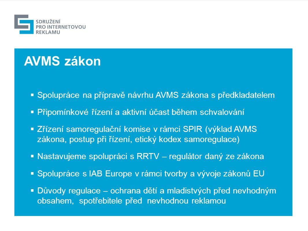 Výhled  Spolupráce na přípravě návrhu AVMS zákona s předkladatelem  Připomínkové řízení a aktivní účast během schvalování  Zřízení samoregulační komise v rámci SPIR (výklad AVMS zákona, postup při řízení, etický kodex samoregulace)  Nastavujeme spolupráci s RRTV – regulátor daný ze zákona  Spolupráce s IAB Europe v rámci tvorby a vývoje zákonů EU  Důvody regulace – ochrana dětí a mladistvých před nevhodným obsahem, spotřebitele před nevhodnou reklamou AVMS zákon