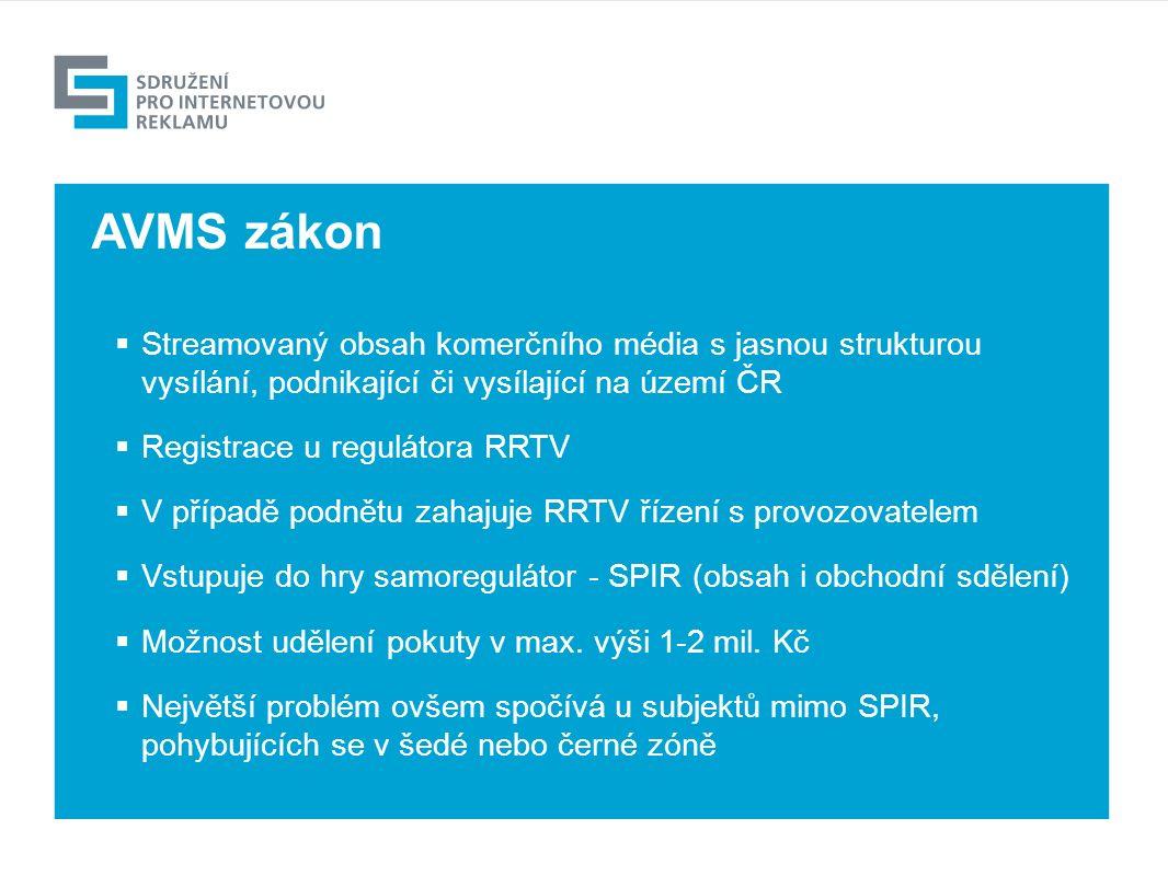 Výhled  Streamovaný obsah komerčního média s jasnou strukturou vysílání, podnikající či vysílající na území ČR  Registrace u regulátora RRTV  V případě podnětu zahajuje RRTV řízení s provozovatelem  Vstupuje do hry samoregulátor - SPIR (obsah i obchodní sdělení)  Možnost udělení pokuty v max.