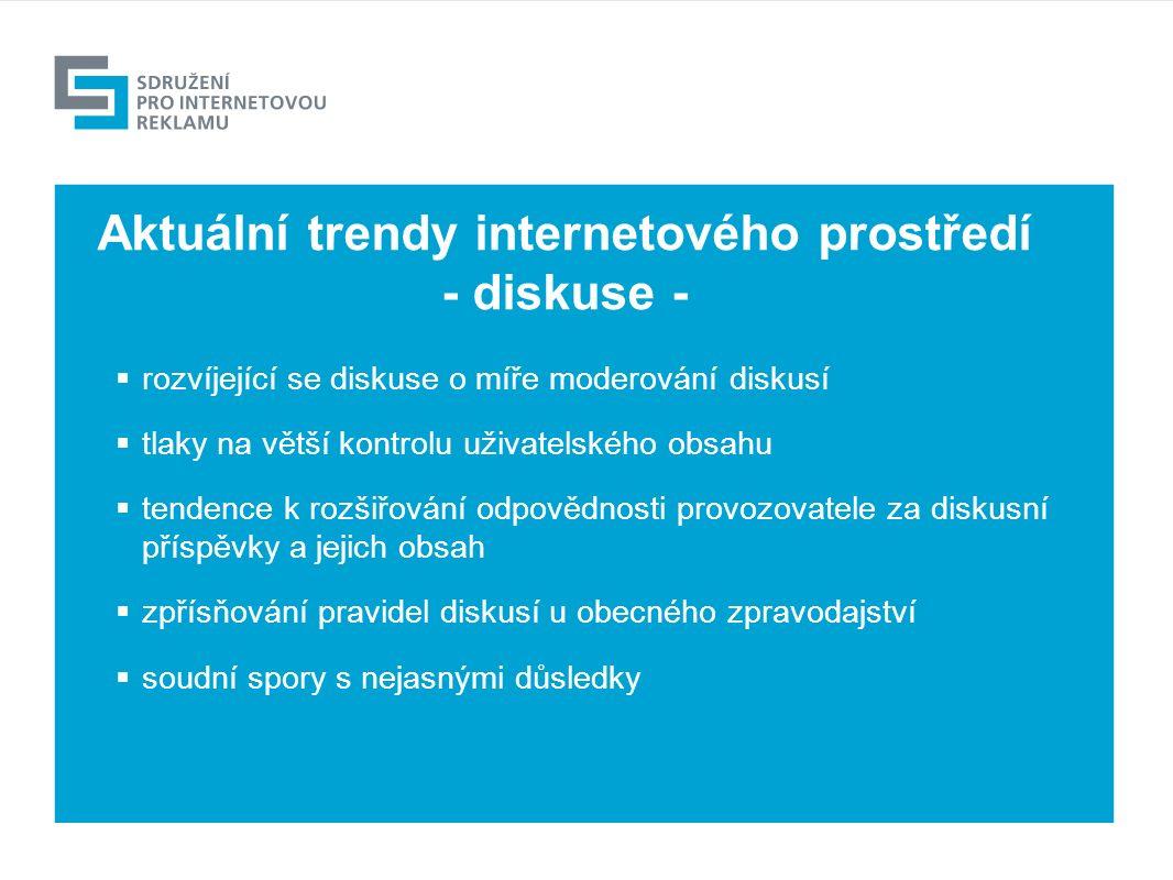 Výhled  rozvíjející se diskuse o míře moderování diskusí  tlaky na větší kontrolu uživatelského obsahu  tendence k rozšiřování odpovědnosti provozovatele za diskusní příspěvky a jejich obsah  zpřísňování pravidel diskusí u obecného zpravodajství  soudní spory s nejasnými důsledky Aktuální trendy internetového prostředí - diskuse -