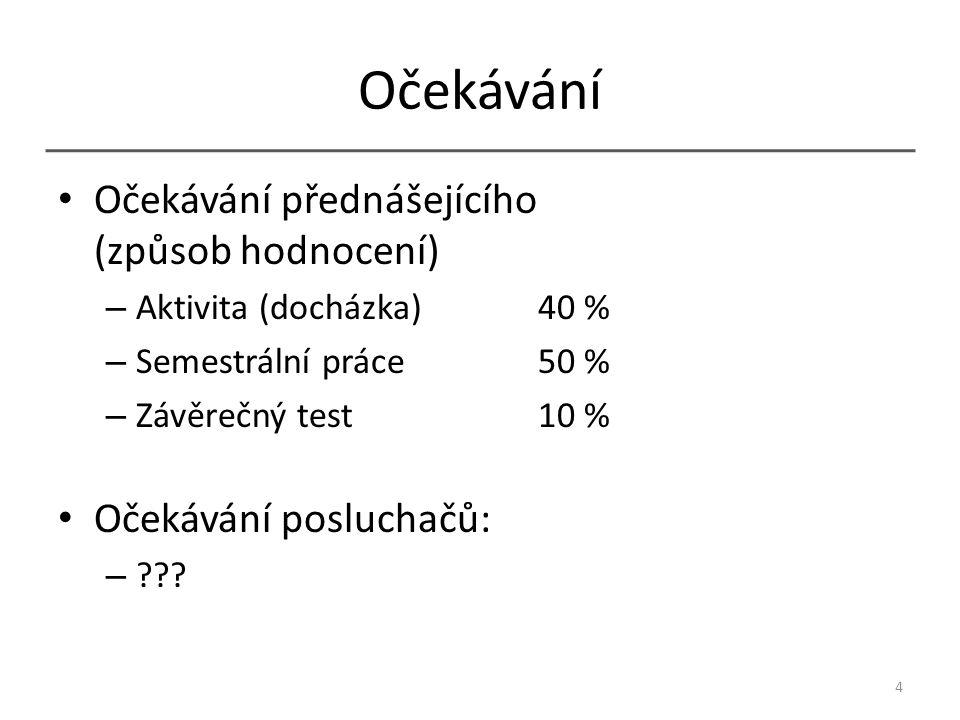 Očekávání Očekávání přednášejícího (způsob hodnocení) – Aktivita (docházka) 40 % – Semestrální práce50 % – Závěrečný test10 % Očekávání posluchačů: – .