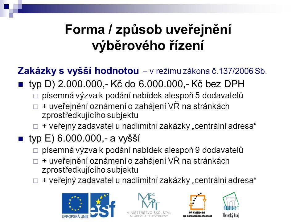 Forma / způsob uveřejnění výběrového řízení Zakázky s vyšší hodnotou – v režimu zákona č.137/2006 Sb.