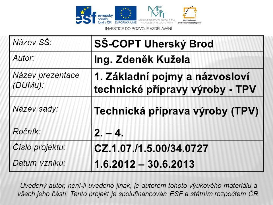 Název SŠ: SŠ-COPT Uherský Brod Autor: Ing. Zdeněk Kužela Název prezentace (DUMu): 1.
