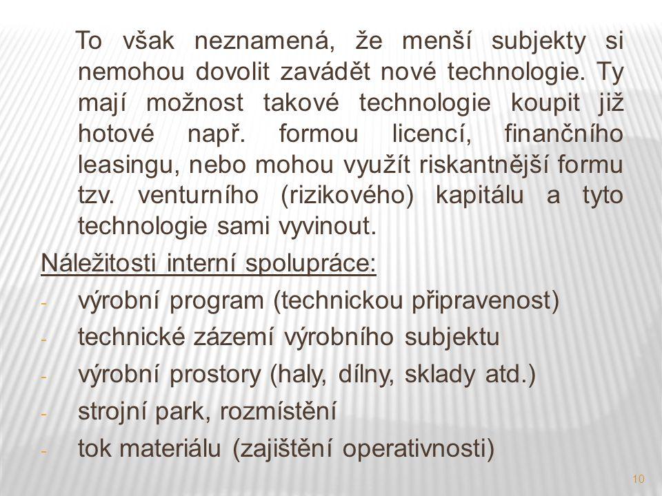 10 To však neznamená, že menší subjekty si nemohou dovolit zavádět nové technologie.