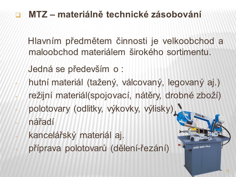 11  MTZ – materiálně technické zásobování Hlavním předmětem činnosti je velkoobchod a maloobchod materiálem širokého sortimentu.