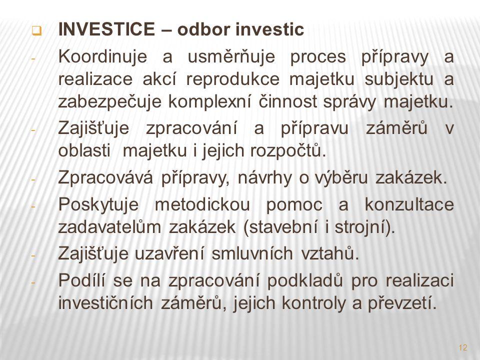 12  INVESTICE – odbor investic - Koordinuje a usměrňuje proces přípravy a realizace akcí reprodukce majetku subjektu a zabezpečuje komplexní činnost správy majetku.