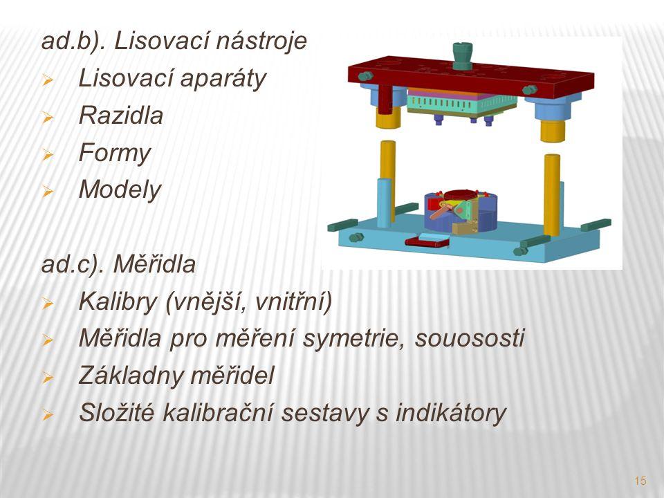 15 ad.b). Lisovací nástroje  Lisovací aparáty  Razidla  Formy  Modely ad.c).