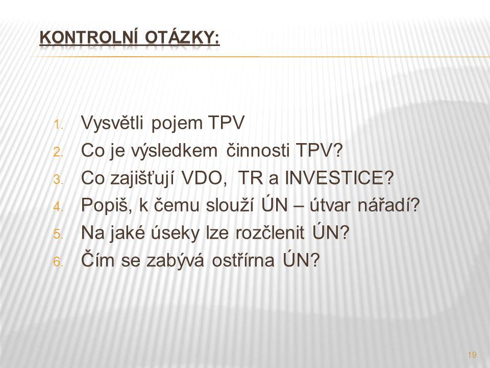 1. Vysvětli pojem TPV 2. Co je výsledkem činnosti TPV.